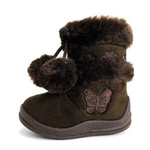 Babys-Girls-Infant-Kids-Toddler-Flat-Winter-Fur-Boots-Shoes-brown