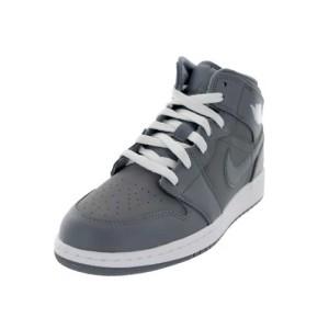 Air-Jordan-1-Mid-(GS)-Big-Kids-Basketball-Shoes-grey